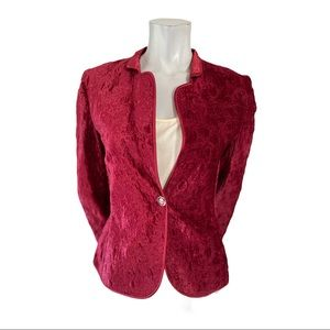 MaxMara Burgundy Crushed Velvet Floral Jacket 4